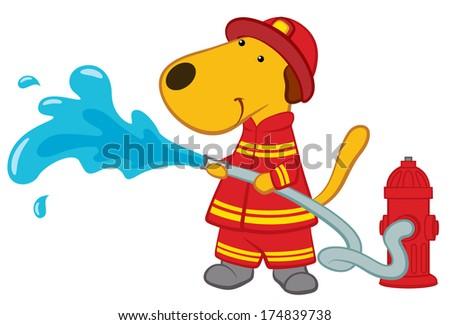 Cartoon Dog Firefighter - stock vector