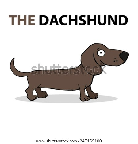 Cartoon dog, happy dachshund - stock vector
