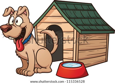 Cartoon dog house. Vector clip art illustration with simple gradients. Each element in a separate layer for easy editing. - stock vector
