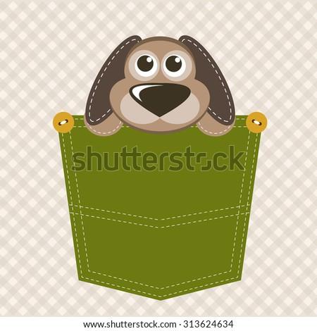 cartoon dog in pocket - stock vector