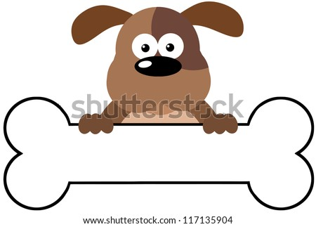 Cartoon Dog Over A Bone Banner - stock vector
