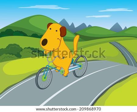 Cartoon Dog Riding a Bicycle - stock vector