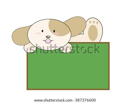 cartoon dog with blank chalkboard sign - stock vector