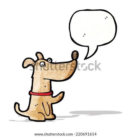 cartoon dog with speech bubble - stock vector