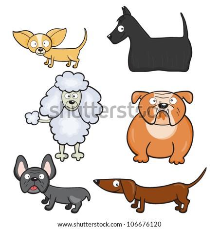 Cartoon dogs. Vector illustration. - stock vector