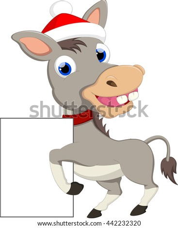 cartoon donkey with blank sign for you design  - stock vector