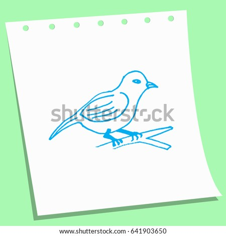 cartoon doodle bird sketch vector illustration