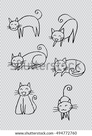 Cartoon doodle cats set. Six little cute kittens.