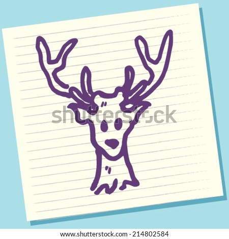 Cartoon Doodle Deer Sketch Vector Illustration - stock vector