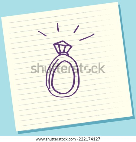 Cartoon Doodle Diamond Ring Sketch Vector Illustration