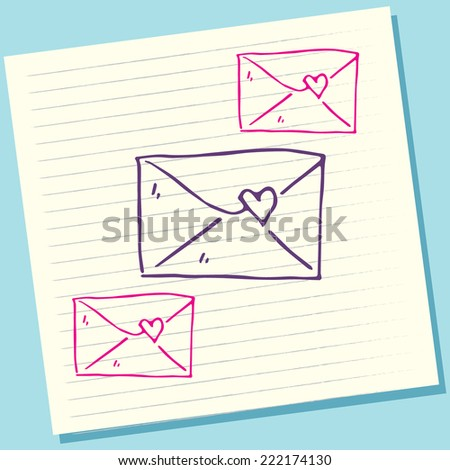 Cartoon Doodle Envelope Love Sketch Vector Illustration - stock vector