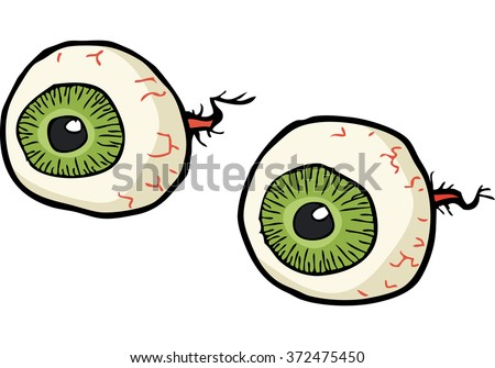 Cartoon doodle eyes on a white background vector illustration