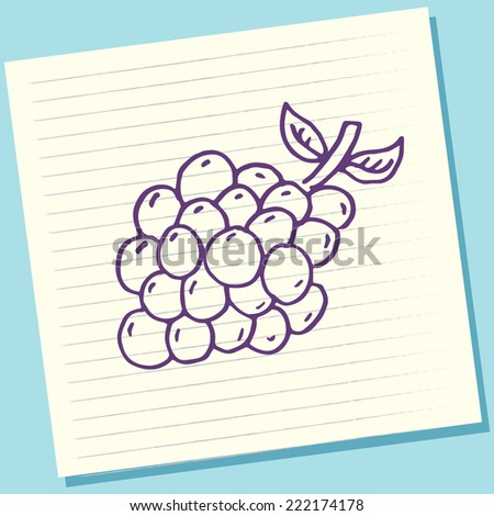 Cartoon Doodle Grape Fruits Sketch Vector Illustration - stock vector