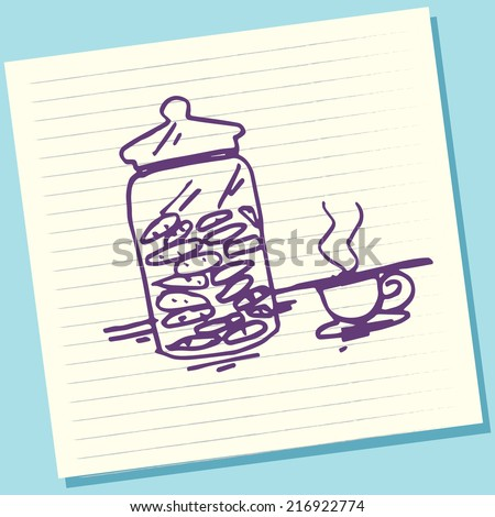 Cartoon Doodle Jar Cookies and Coffee Sketch Vector Illustration - stock vector