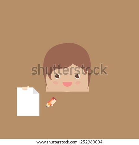 cartoon doodle man rectangle of business, vector illustration - stock vector