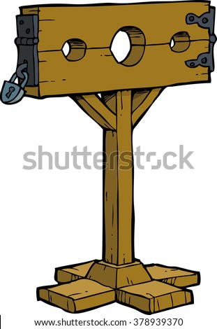 Cartoon doodle medieval stocks on a white background vector illustration - stock vector