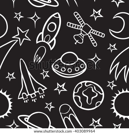 Cartoon doodle space seamless pattern background.