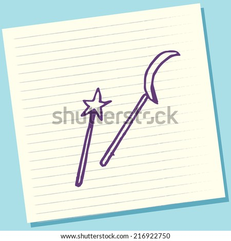 Cartoon Doodle Stick Magic Sketch Vector Illustration - stock vector