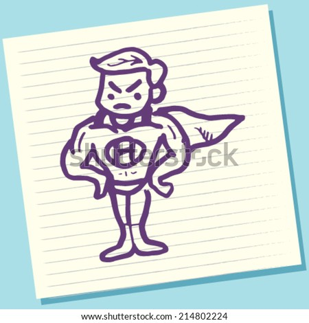 Cartoon Doodle Super Hero Sketch Vector Illustration