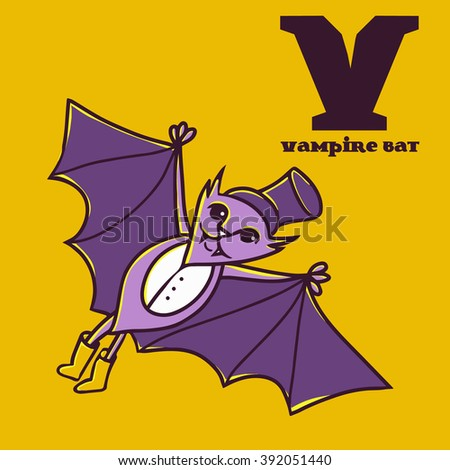 cartoon doodle vampire bat with letter v. part of animal abc.