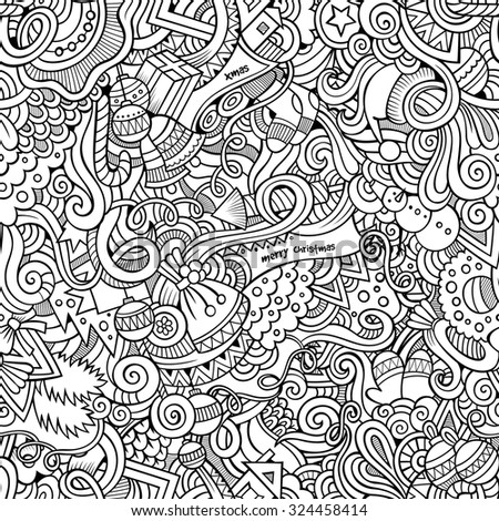 Cartoon doodles hand drawn New Year and Christmas sketchy seamless pattern. Outline vector endless background.  - stock vector
