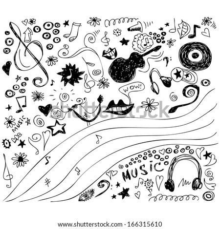 Cartoon doodles vector collection. Music Background - stock vector