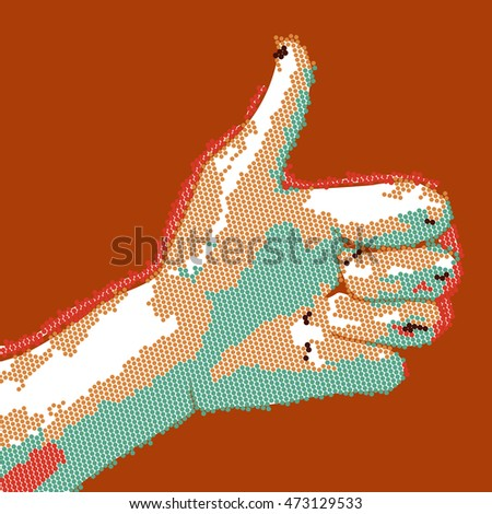 Cartoon dotted hand thumbs up. EPS10 vector success illustration.