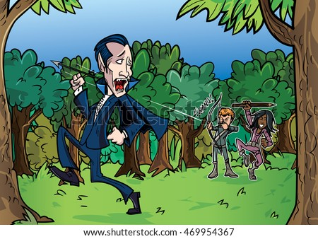 Cartoon Dracula chased by vampire hunters through forest