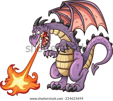 Cartoon dragon spitting fire. Vector clip art illustration with simple gradients. All in a single layer.  - stock vector