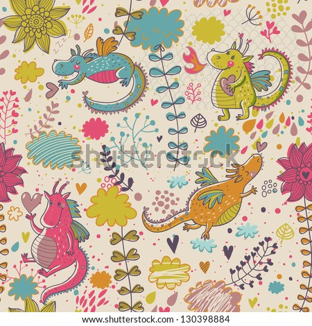 Cartoon dragons in flowers. Childish bright floral pattern in vector - stock vector