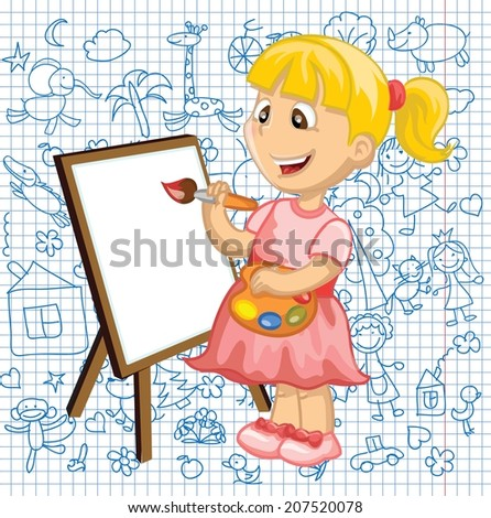 Cartoon drawing girl