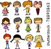 cartoon drawings of children - stock vector