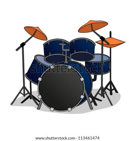 Cartoon Drum set - stock vector