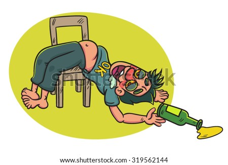 Cartoon Drunk Man with bottle Lying on a Chair, illustration
