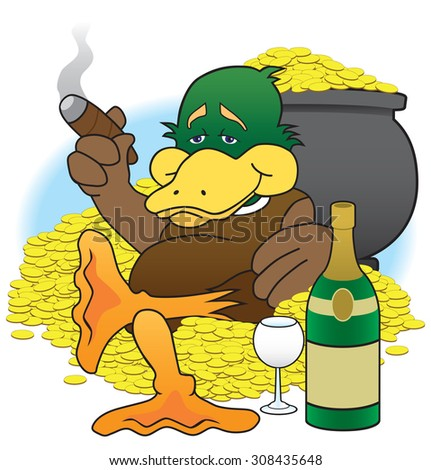 Cartoon duck enjoying his wealth - stock vector