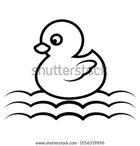Cartoon Duck For Coloring Book Page Cute Animal Outline Swimming Vector Illustration