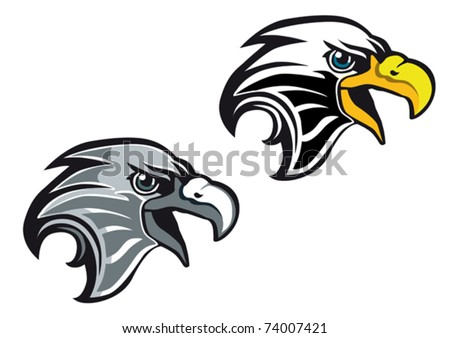 Cartoon eagle symbol isolated on white for tattoo or another design - also as emblem. Jpeg version also available - stock vector
