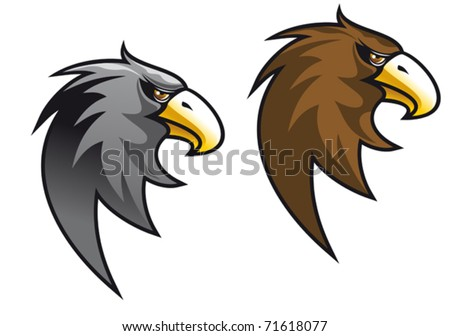 Cartoon eagle symbol isolated on white for tattoo or logo template or another design. Jpeg version also available in gallery - stock vector