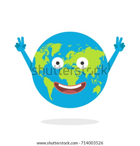 Cartoon earth character world map globe stock vector 714003526 cartoon earth character world map globe with smiley face and hands vector illustration sciox Images