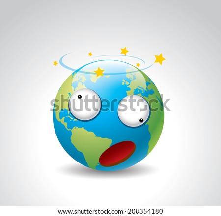 Cartoon earth (dizzy) - stock vector