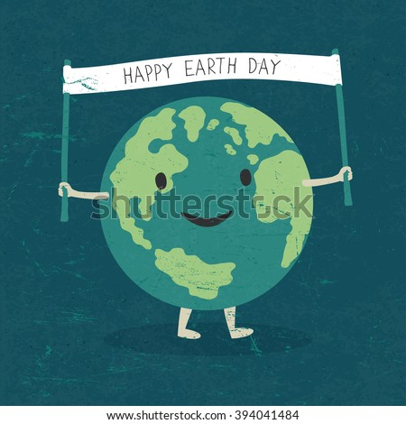 "Cartoon Earth Illustration. Planet smile and hold banner with ""Happy Earth Day"" words. On old paper texture. Grunge layers easily edited. - stock vector"