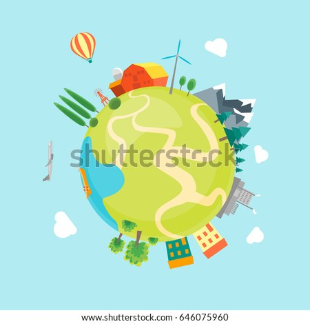 Cartoon Earth with Houses, Mountains, Forests and Factories Flat Style Design Eco Concept. Vector illustration