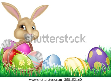 Cartoon Easter bunny with a basket full of chocolate Easter eggs in a field