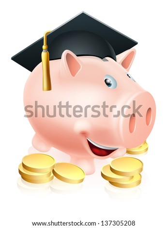 Cartoon education piggy bank with mortar board graduation hat on and gold coins. Concept for saving money for an education or schooling or college finances etc.  - stock vector