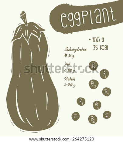 Cartoon eggplant with nutritional value info. Eggplant isolated. Vegetables vector icon set. Vector illustrations - stock vector