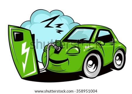 Cartoon electric car battery charging  - stock vector