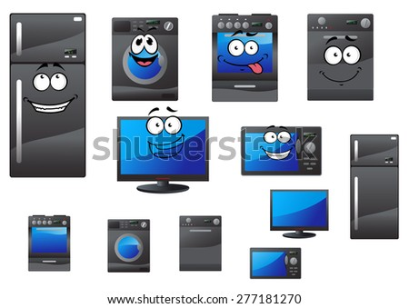 Cartoon electrical household and kitchen appliances with happy faces including refrigerator, stove, television, computer, washing machine and microwave - stock vector