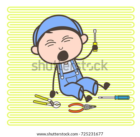Cartoon Electrician Fall Down With Tools Vector Illustration