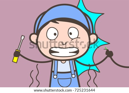 Cartoon Electrician Got Electric Shock Vector Illustration