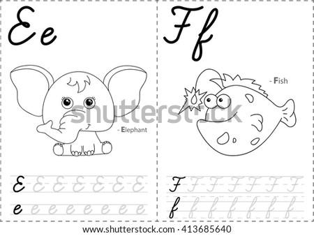Alphabet Writing For Kids on Stock Illustration Cartoon Elephant Fish Alphabet Tracing Worksheet Writing